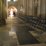 The resting place of Jane Austen in Winchester Cathedral.