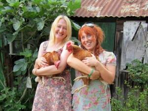 Author Ruth Saberton visits and enjoys a hen cuddle